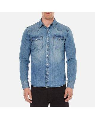 【新款S-XXL優惠】美國 日本Levi s BARSTOW WESTERN SHIRT 中藍石洗珍珠釦百搭牛仔長袖襯衫