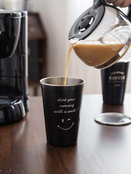 (送不鏽鋼吸管)新款北歐風 不鏽鋼水杯+杯蓋 尊爵黑 激光雕刻 咖啡杯 質感對杯 咖啡廳飲料杯 環保杯 露營杯