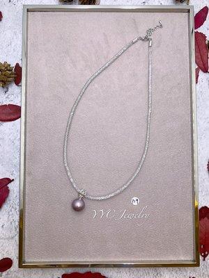 【YYC Jewelry】淡水珍珠 極光 圓珠 項鍊 水晶項鍊  #P19