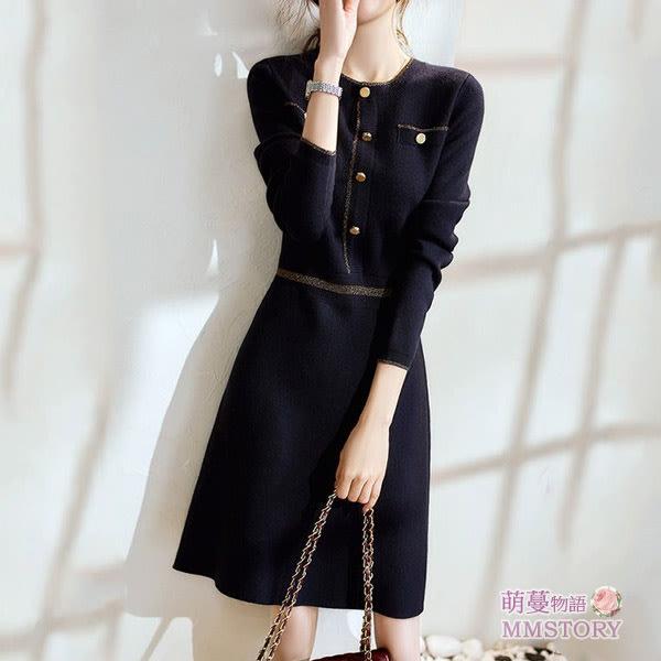 法式小香風針織長毛衣洋裝 萌蔓物語 【KF0355】韓氣質女連身裙
