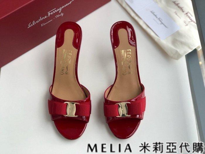 Melia 米莉亞代購 歐美精品女鞋 商城特價 SALVATORE FERRAGAMO 高跟拖鞋 金扣蝴蝶結設計 紅色