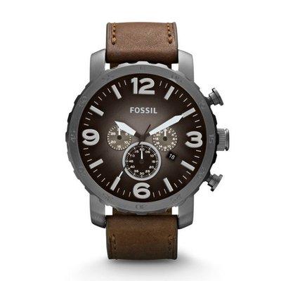 【WowLook】Fossil JR1424 三眼計時腕錶 灰黑錶身 咖啡皮帶