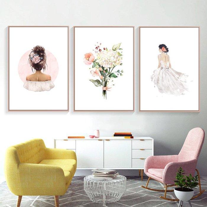 C - R - A - Z - Y - T - O - W - N 北歐ins掛畫粉色少女心裝飾畫兒童房臥室床頭牆畫小清新文藝簡約版畫人物花卉時尚三聯畫小眾藝術