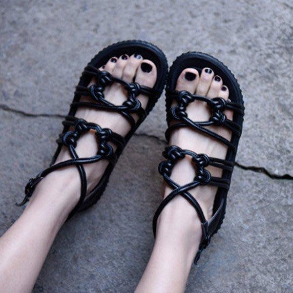 ~皮皮創~原創設計手工女鞋。真皮綁帶平底羅馬涼鞋