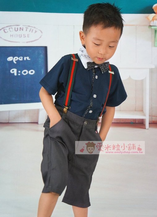 英倫風兒童 短袖襯衫 吊帶 短褲 領結 ☆愛米粒☆ B24