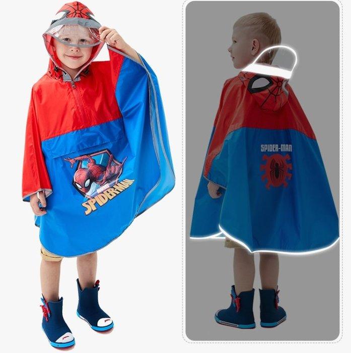 •*~ 辣媽咪衣飾小舖 ~*•❤童裝系列❤A970134兒童寶寶男女童學生卡通圖案防滑雨靴--斗蓬式蜘蛛俠