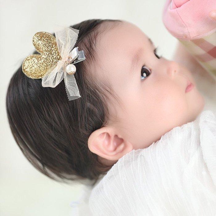 ☆草莓花園☆C174兒童髮夾 韓版手工閃粉心形髮夾    拍照攝影 頭飾髮飾