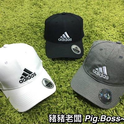【豬豬老闆】ADIDAS LOGO CAP 白黑 六片帽 刺繡 經典logo 鴨舌帽 S98150 S98151