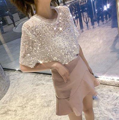 韓版圓領亮片網紗短袖T恤 休閑體恤衫 半袖上衣 閨蜜裝—莎芭