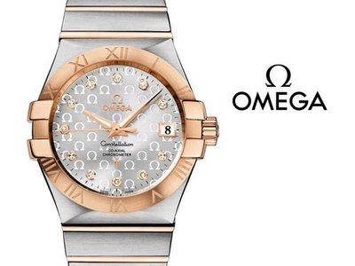 OMEGA 歐米茄 手錶 CONSTELLATION 星座 機械錶 35mm 18K玫瑰金 藍寶石 鑽石 123.20.35.20.52.003