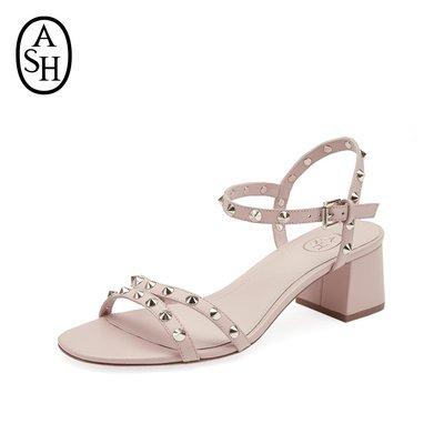 涼鞋ASH女鞋夏季新款RIKKI皮質高跟鞋金屬搭扣鉚釘方跟一字帶涼鞋拖鞋