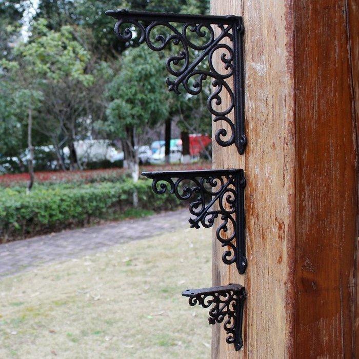 衣萊時尚-歐式創意鑄鐵花形直角支撐架架置物架三角架鐵藝家居裝飾品隔板架(尺寸規格不同價格不同喔)