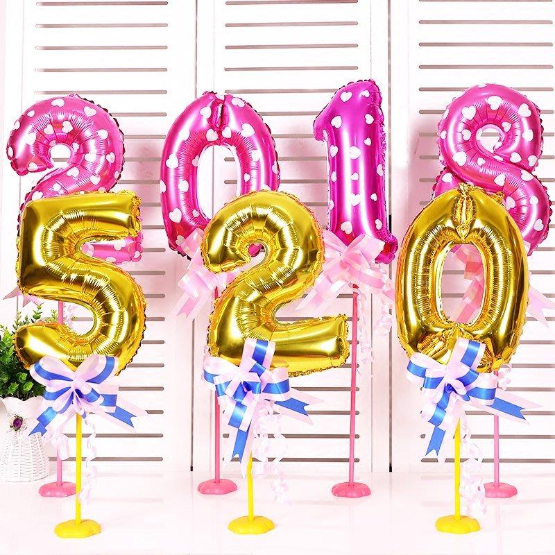 數字桌飄鋁膜氣球寶寶宴生日周歲滿月桌牌號裝扮布置裝扮用品