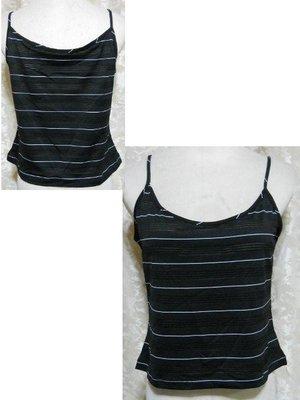~麗麗ㄉ大碼舖~大尺寸PXS~XL 32~46吋 白色 黑色條紋細肩帶彈性小可愛~