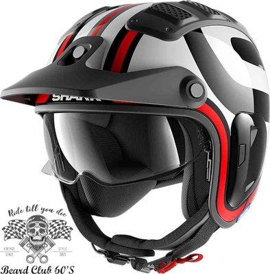 ♛大鬍子俱樂部♛ SHARK® X-Drak 2 Thrust R 法國 原裝 復古 越野 Jet 安全帽 黑/紅/白