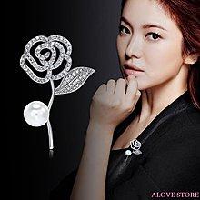 ALOVE STORE 韓國玫瑰花胸針高檔水晶花朵胸花女西裝外套珍珠別針領針胸章配飾