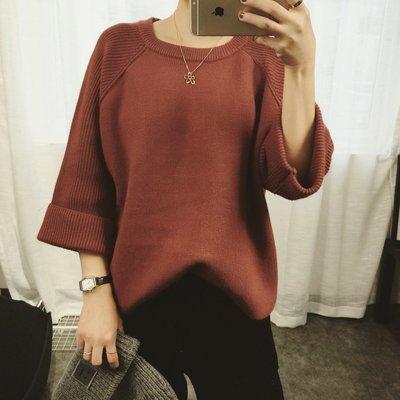 CHERRY LALA 韓國單實拍簡約素色百搭捲邊插肩袖寬鬆顯瘦加厚圓領毛衣-(鐵鏽紅現貨) M11022 chic