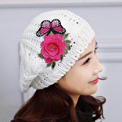 毛線帽貝雷帽-白色花朵蝴蝶刺繡女帽子73vt21[獨家進口][米蘭精品]