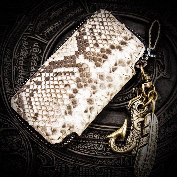 ~皮皮創~原創設計手作包。純手工純天然蟒蛇皮汽車鑰匙包 復古個性小錢包純手工縫製雜物包掛包萬用包 限量發售