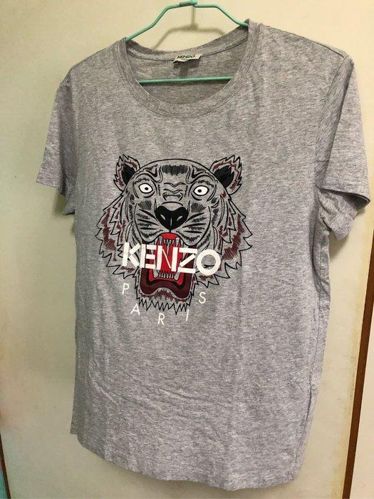 購於專櫃 Kenzo 老虎頭 經典 純棉 灰色 t桖