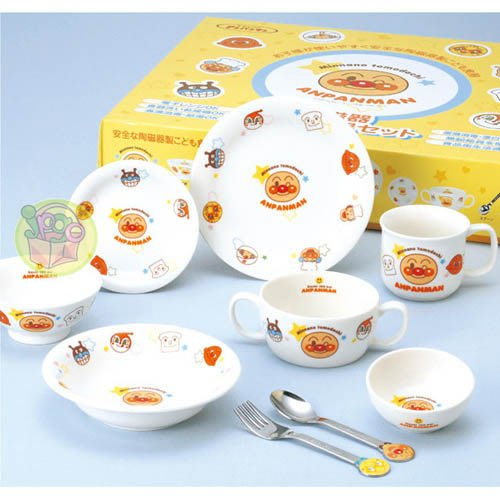 【JPGO】宅配限定!日本製 麵包超人 瓷器、不鏽鋼9件食器組 彌月禮#607