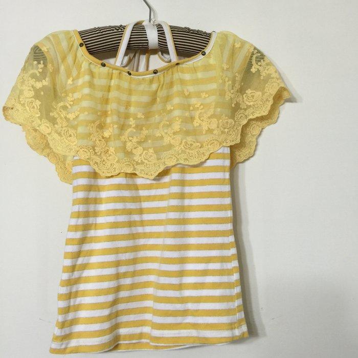 蕾絲上衣一字領  大圓領 綁帶 棉質T-shirt貼身 二手衣物 出清 8成新 僅黃色 不含衣架