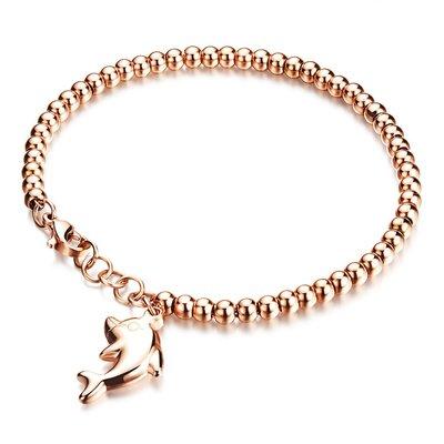 日韓精緻圓珠手鍊海豚鈦鋼手鐲女士玫瑰金手鍊生日禮物N835