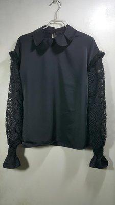 ※蜜彩BABY熊※專櫃MOMA黑色有領蕾絲荷葉邊長袖上衣特價480(買三送一)