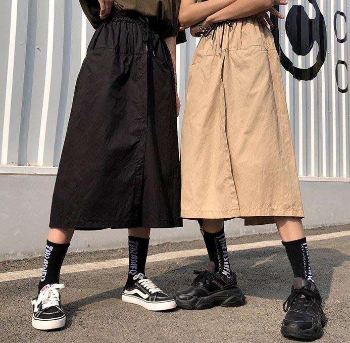 SeyeS MINI 街頭百搭單品個性抽繩一片設計感褲裙