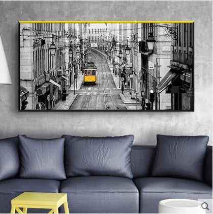 『格倫雅』一路有陽光 現代簡約裝飾畫客廳工業風餐廳掛畫城市黑白壁畫墻畫^7766