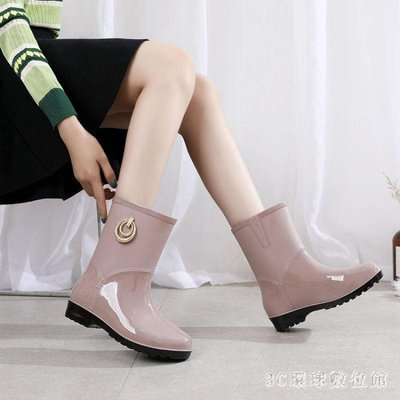 雨靴女水靴水鞋成人高幫雨鞋防滑中筒防水女士短筒雨天鞋子洗刷車 LR20977『輕衣』(可免費開立發票)