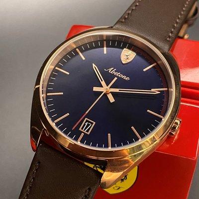 FERRARI法拉利男女通用錶,編號FE00005,42mm玫瑰金圓形精鋼錶殼,寶藍色簡約錶面,咖啡色真皮皮革錶帶款