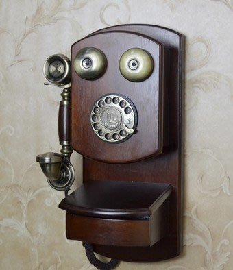 INPHIC-歐式仿舊電話機 復古電話 壁掛式電話機 掛式電話機 金屬轉盤撥號