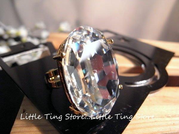 SWAROVSKI 施華洛世奇 古銅金超大白寶石超炫食指戒指 無碼戒子 絲巾領巾環