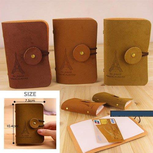 韓版復古浪漫鐵塔絨皮卡包 鐵塔卡包 韓版絨皮卡包 公交銀行卡套20卡位 隨機出色
