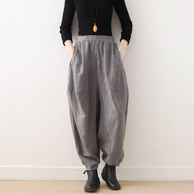花間度 慕  春秋季新款原創設計文藝女寬鬆大碼蘿蔔褲加厚條紋闊腿燈籠褲子