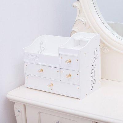 ❃彩虹小舖❃【P572】木塑板化妝品收納盒 桌面 護膚品 梳妝台 首飾盒 水晶拉手 抽屜式 儲物盒