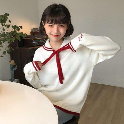 短袖針織衫 冰絲 女裝韓版甜美學院風寬松系帶軟妹可愛網紅套頭毛衣 針織衫 上衣