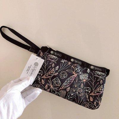 LeSportsac 優雅花草 8105 手掛繩多夾層化妝包 零錢包 收納包 降落傘防水 限量 大號