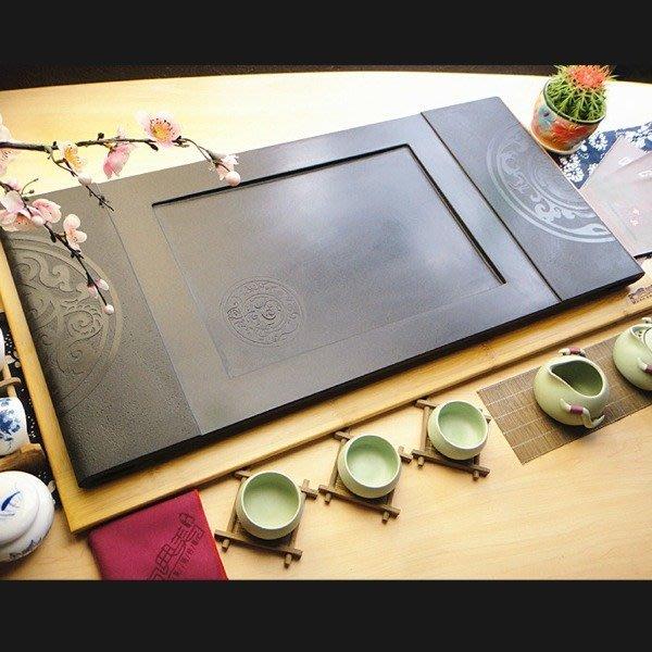 5Cgo【茗道】含稅會員有優惠 39420873739 天然烏金石切割三圓開泰茶盤黑金石泡茶桌石頭盤面茶幾75*35cm