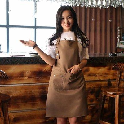 圍裙 韓版時尚圍裙定制logo純棉防水咖啡奶茶店美甲男女餐廳廚師工作服