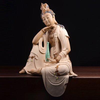 傳藝工坊 - 『禪怡 素燒款』 觀音 菩薩 擺飾 藝術 陶土 自在 紫砂 手工 藝品 禮品