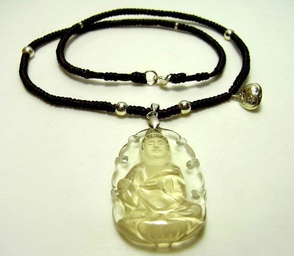 小風鈴~天然頂級41mm清料雕如意觀音黃水晶項鍊925純銀~富貴保平安