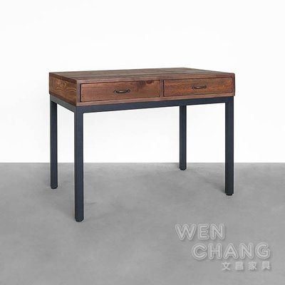 訂製品 仿舊色雙抽桌 書桌 CUA-018 *文昌家具*