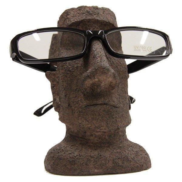 (I LOVE樂多)少量商品-智利復活島迷你Moai巨像眼鏡架moai 摩艾實用 有趣 裝置藝術 Old school