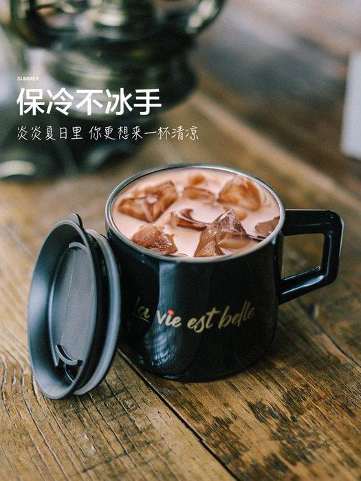 奇奇店-桌面保溫咖啡馬克杯帶蓋勺不銹鋼男女創意情侶潮流韓版水杯#小清新 #可愛呆萌 #食品級材質