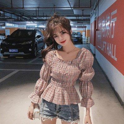 小香風 短袖T恤 時尚穿搭 韓版 復古法式喇叭袖格子收腰 顯瘦 方領九分袖襯衫女