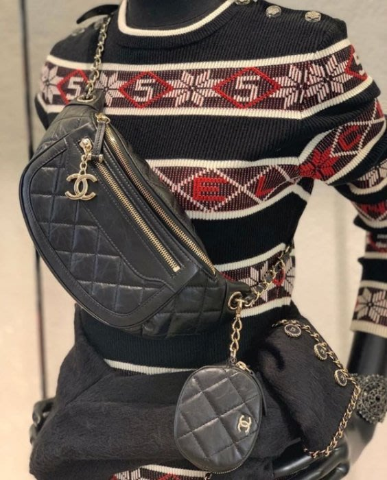 Chanel AS1071 Chanel Bi Quilted Waist Bag 小牛皮格紋鍊帶腰包 黑