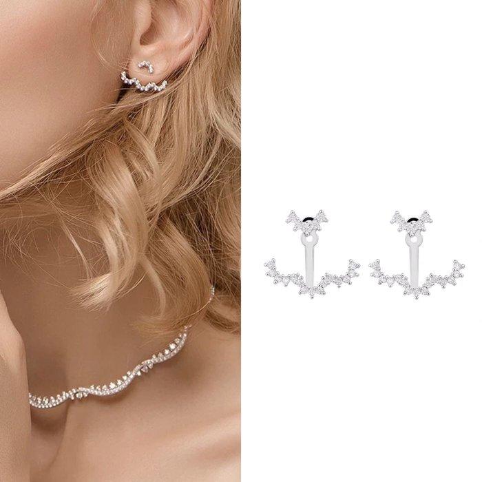 💎1090、哥德蕾絲系列 時尚輕波浪設計輕奢雙層後掛式耳環(後掛式)💎正韓 飾品 空運 珠寶 耳環 ED033