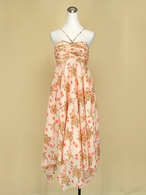 貞新二手衣 粉橘花朵平口細肩帶質感緞面雪紡紗洋裝S號(35917)